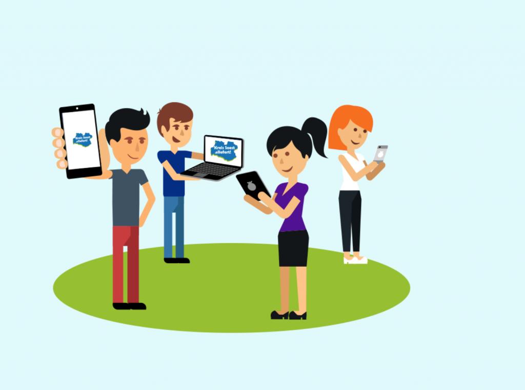Kartikatur Personen mit Tablets und Smartphones