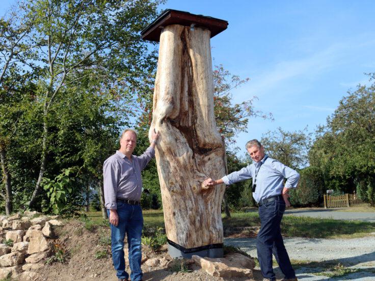 Zwei Männer stehen an Baumstamm gelehnt, Bäume im Hintergrund