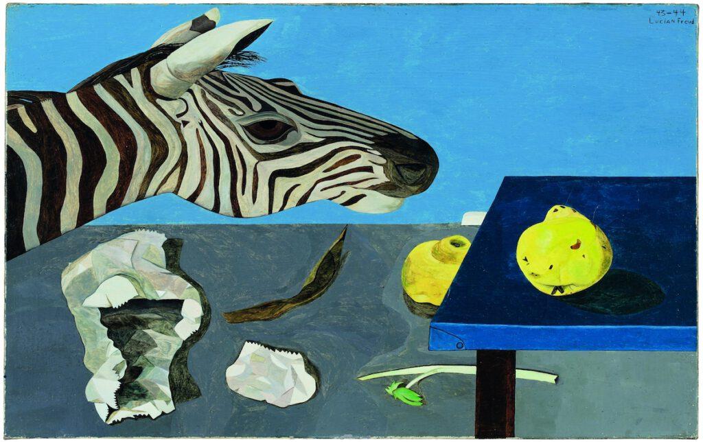 Ein Gemälde mit einem Zebra und einer Quitte
