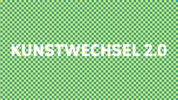 Grafik mit blau-gelb-grünem Muster und Schriftzug