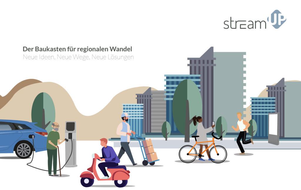 Grafik mit Hochhäusern und umher laufenden Menschen