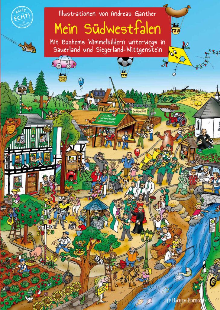 """Das Deckblatt des Wimmelbuchs """"Mein Südwestfalen"""" mit vielen gezeichneten Figuren"""
