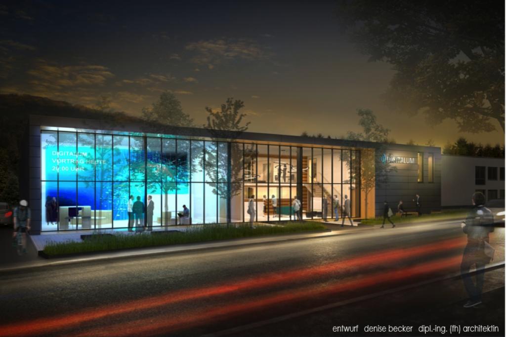 Die Zeichnung eines Gebäudes mit Glasfront im Abendlicht