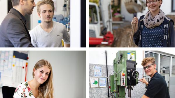 Collage mit vier Bildern von jungen Menschen auf der Arbeit