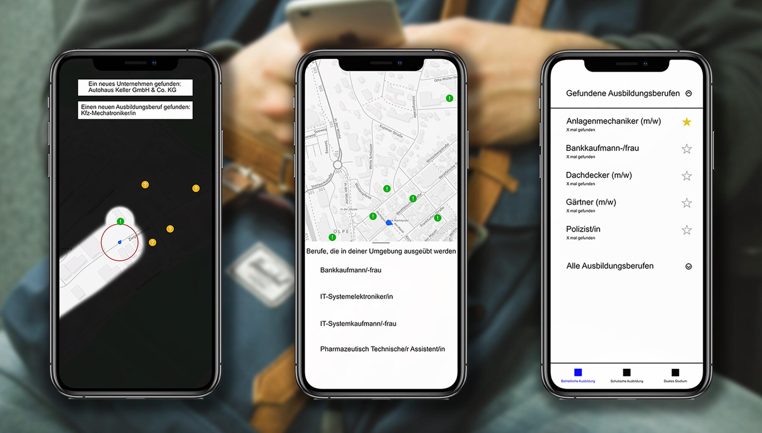 Drei Smartphones nebeneinander zeigen eine App