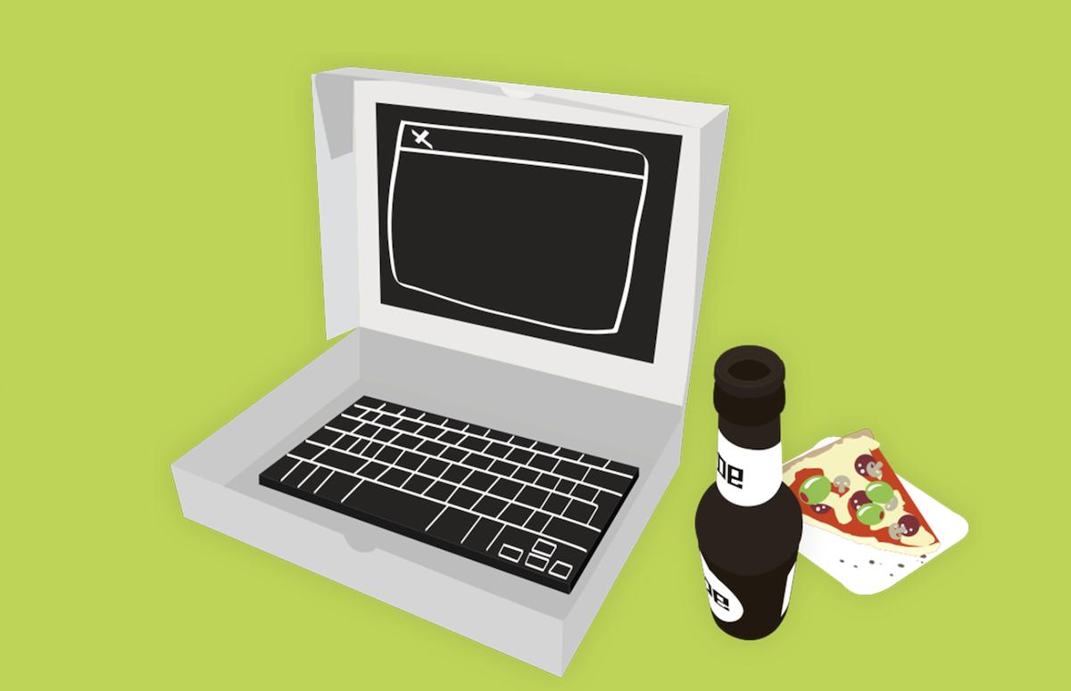 Eine Zeichnung von einem Laptop neben einer Flasche und einem Stück Pizza
