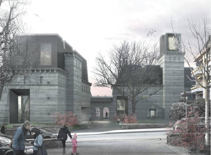 Skizzierter Entwurf, wie das neue Siegerlandmuseum aussehen könnte