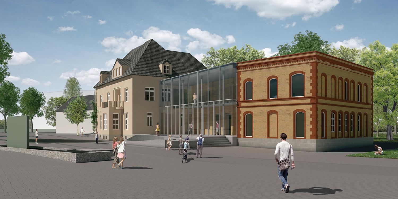 Grafik, wie die neue Stadtbücherei aussehen könnte. Drei Gebäudeteile. Das mittlere mit Glasfront